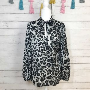 MICHAEL Michael Kors Yesler Snow Leopard Blouse S
